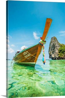 Traditional Long Tail Boat Moored On Turquoise Waters, Nui Beach, Thailand