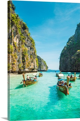 Traditional Long Tail Boats Moored On Turquoise Waters, Pileh Lagoon, Thailand