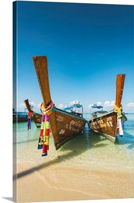 Traditional Longtail Boats On The Beach, Lo Bakao Bay, Ko Phi Phi Don, Thailand