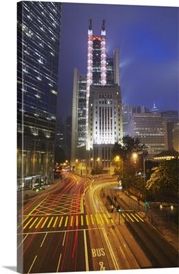 Traffic passing along Queen's Road Central, Hong Kong, China
