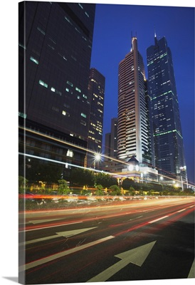Traffic passing in front of CITIC Plaza, Guangzhou, Guangdong Province, China