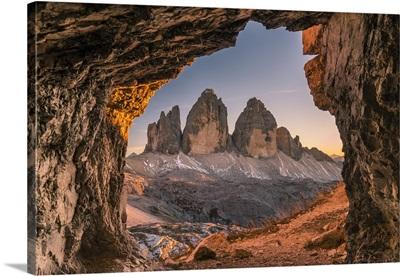 Tre Cime di Lavaredo peaks or Drei Zinnen at sunset, Dobbiaco