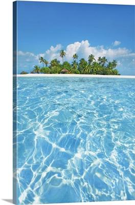 Tropical Lagoon With Palm Island, Maldives, South Male Atoll, Mahaanaelhihuraa, Rihiveli