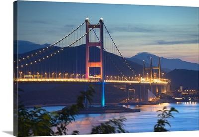 Tsing Ma Bridge at dusk, Tsing Yi, Hong Kong, China