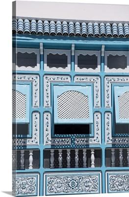 Tunisia, Kairouan, Madina, Decorative Blue Window, Decorative