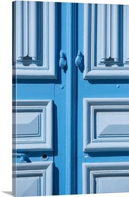 Tunisia, Kairouan, Madina, Hands Of Fatima Door Handle On A Blue Door