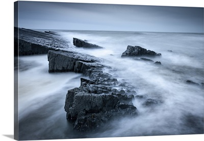 Twilight On The Rocky Shores Of Speke's Mill Mouth, On The North Devon Coast, England