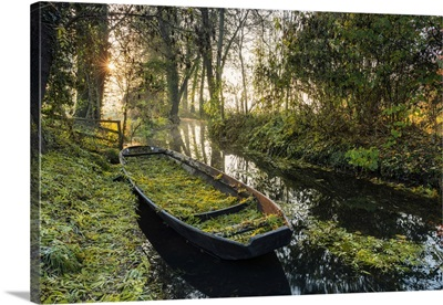 Typical Boat On A Canal In The Spreewald, Biosphere Reserve, Brandenburg, Germany
