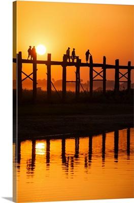 U Bein Bridge at sunset, Amarapura, Mandalay, Burma