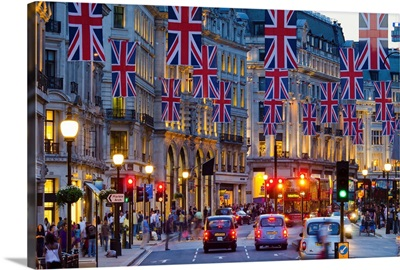 UK, England, London, Regent Street, Taxis and Union Jack Flags