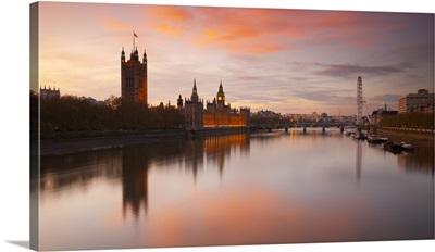 UK, London, Big Ben, Houses of Parliament and London Eye