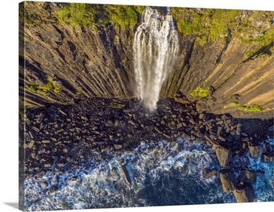 UK, Scotland, Highland, Isle Of Skye, Trotternish Peninsula, Kilt Rock Falls, Drone View