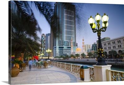 United Arab Emirates, Sharjah, Al Qasba Mosque beside Al Qasba Canal