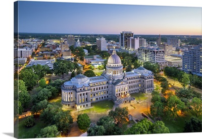USA, Mississippi, Jackson, Capital City, State Capitol Building, Downtown Skyline
