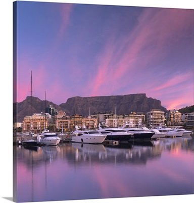 V A Waterfront Marina at sunset, Cape Town, Western Cape, South Africa