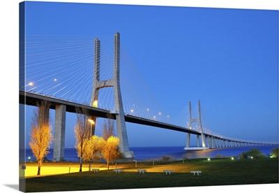 Vasco da Gama bridge and the Tagus river, Lisbon, Portugal
