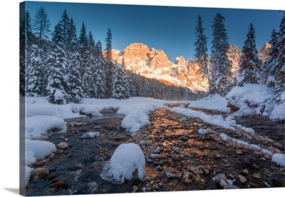 Venegia valley at sunset, Trentino Alto Adige district, Italy, Europe