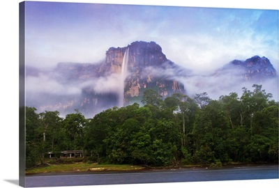 Venezuela, Guayana, Canaima National Park, Mist swirls round Angel Falls at sunrise
