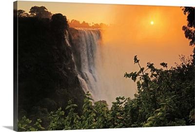 Victoria Falls at sunrise, Zambezi River, near Victoria Falls, Zimbabwe, Africa