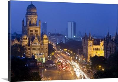 Victoria terminus or Chhatrapati Shivaji terminus and central Mumbai, Mumbai India
