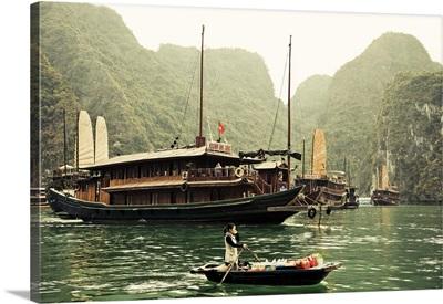Vietnam, Halong Bay and Tourist Junk Boat