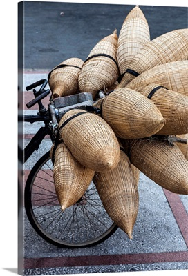 Vietnam, Ho Chi Minh City, bicycle with wicker baskets