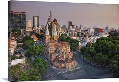 Vietnam, Ho Chi Minh City (Saigon), Notre Dame Cathedral and city skyline