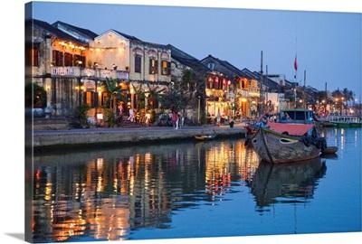 Vietnam, Hoi An, Evening View of Town Skyline and Hoai River