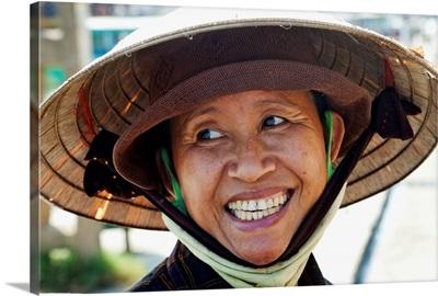 Vietnam, Hoi An, Portrait of Lady Wearing Conical Hat