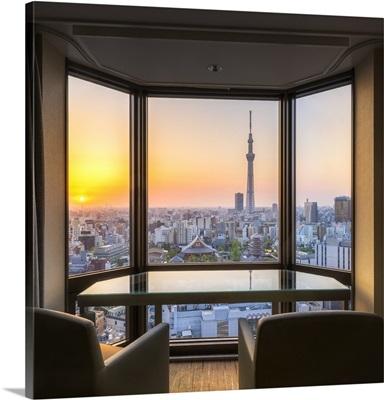 View from Asakusa View Hotel towards Tokyo Skytree, Tokyo, Asakusa, Japan