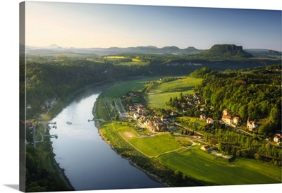 View From The Bastei Into The Elbe Valley, Elbe Sandstone Mountains, Saxony, Germany
