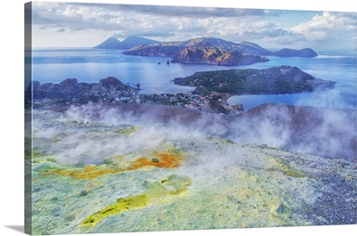 View Of Aeolian Islands Archipelago From Gran Cratere, Vulcano Island, Sicily, Italy