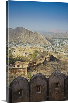 View of Amber Fort from Jaigarh, Jaipur, Rajasthan, India