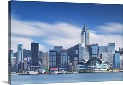View of Convention Centre and Hong Kong Island skyline, Hong Kong, China