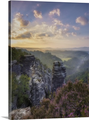 View Of Hoellenhund, Sandstone Rocks In The Elbe Sandstone Mountains, Saxony, Germany