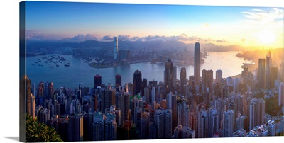 View of Hong Kong Island skyline at dawn, Hong Kong, China