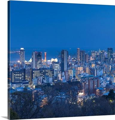 View Of Kobe Skyline At Dusk, Kobe, Kansai, Japan