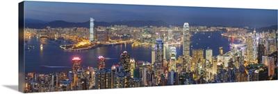 View of Kowloon and Hong Kong Island from Victoria Peak at dusk, Hong Kong