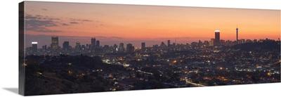 View of skyline at sunset, Johannesburg, Gauteng, South Africa
