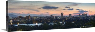 View of skyline of coastal area of Fukuoka at sunset, Kyushu, Japan