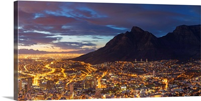View of Table Mountain and City Bowl at dawn, Cape Town, Western Cape, South Africa