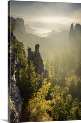 View Of The Zitronenkopf Rocks In The Elbe Sandstone Mountains, Saxony, Germany