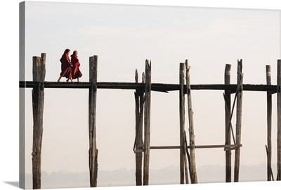 View of U-Bein Bridge at Dawn, Amarapura, Mandalay, Mandalay Region, Myanmar
