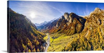 View Of Val Bodengo During Autumn, Valchiavenna, Valtellina, Lombardy, Italy