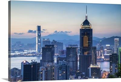 View of Wan Chai and Kowloon at dusk, Hong Kong