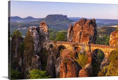 View Over Bastei Bridge To The Lilienstein, Elbe Sandstone Mountains, Saxony, Germany