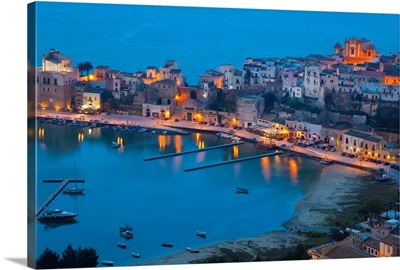 View over harbour at dusk, Castellammare del Golfo, Sicily, Italy