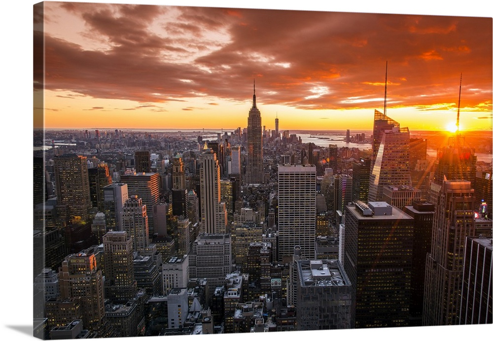 View Over Midtown Manhattan Skyline At Sunset From The Top Of The Rock, New  York