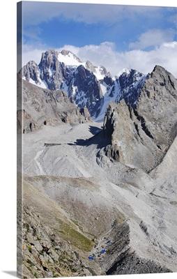 View towards Korona peak, Ala Archa National Park, Tian Shan mountains, Kyrgyzstan