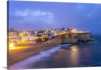 Village Of Carvoeiro And Its Beach At Blue Hour, Portugal